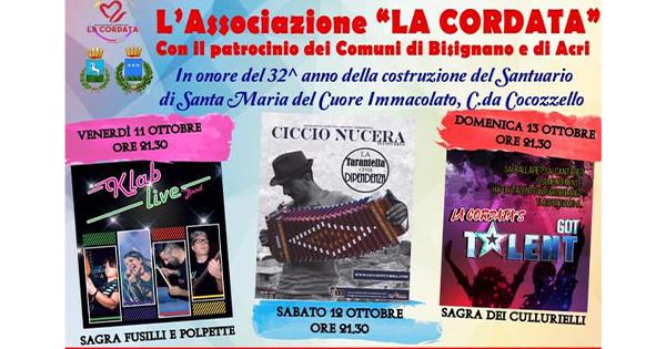 Festa Cocozzello • Venerdì 11/Domenica 13 ottobre